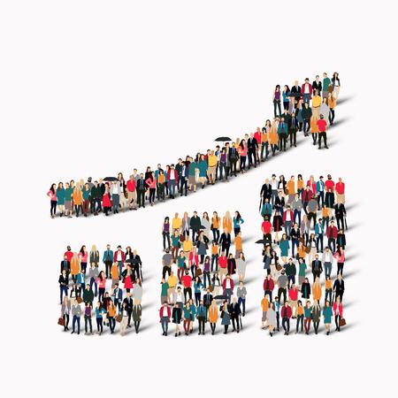 población: Un gran grupo de personas en forma de gráfico cada vez mayor. Ilustración del vector.
