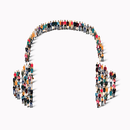 company board: A large group of people in the shape of headphones. Vector illustration Illustration