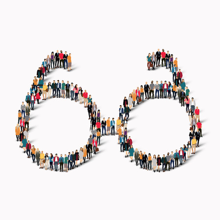 A large group of people in the shape of a glasses. Vector illustration Illustration