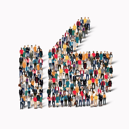 www arm: A large group of people in shape Like, vector, isolated, white background.