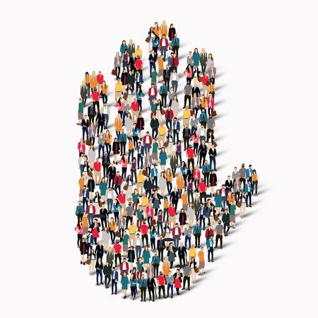 signos de precaucion: Un gran grupo de personas en la forma de una mano, Señal de stop. Ilustración del vector. Vectores