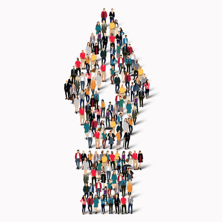 classic authors: A large group of people in the shape of a fountain pen. Vector illustration Illustration