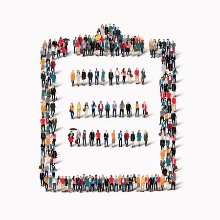 whose: A large group of people in the shape of a questionnaire, questions. Vector illustration.