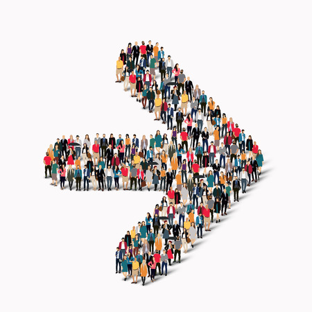 towards: A large group of people in the shape of an arrow direction. Vector illustration
