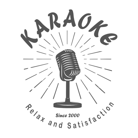 mc: Karaoke club, the song, the audience, microphone, retro, vintage, isolated, white background.