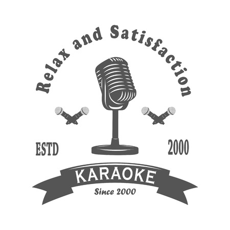 Karaoke club, the song, the audience, microphone, retro, vintage, isolated, white background.