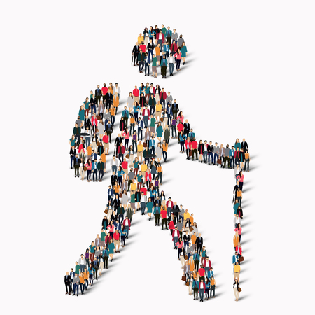 striding: A large group of people in the shape of man, a traveler. illustration. Illustration