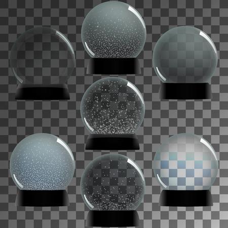 christal: Snow globe vector  set winter transparent background Illustration