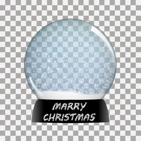 Snow globe   happy new year vector winter transparent background