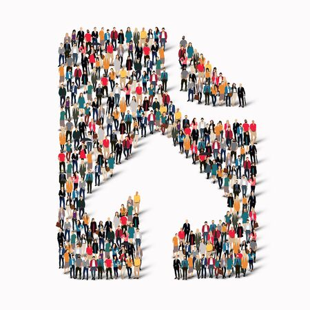 A large group of people in the shape of a questionnaire, arrow , questions. illustration. Stock Photo