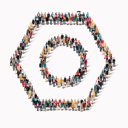 A large group of people in the shape of a bolt , top . Vector illustration.