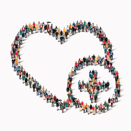 A large group of people in the form of heart , love . Vector illustration.