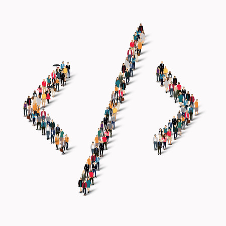group direction: A large group of people in the shape of an arrow direction. Vector illustration
