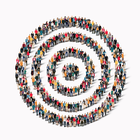 multi ethnic group: A large group of people in the shape of the target goal. Vector illustration.