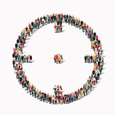 A large group of people in the shape of the target goal. Vector illustration.