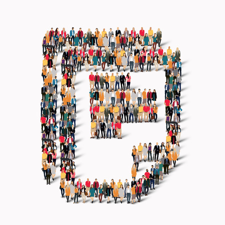 human icons: A large group of people in the shape of a document. Vector illustration.