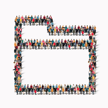 A large group of people in the shape of a folder. Vector illustration.