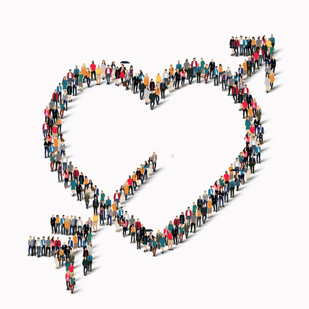 obra social: A large group of people in the form of heart , love . Vector illustration.