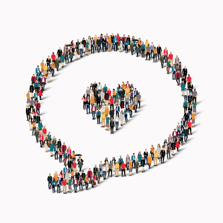 medium group of people: A large group of people in the shape of a chat bubble, heart. Vector illustration.