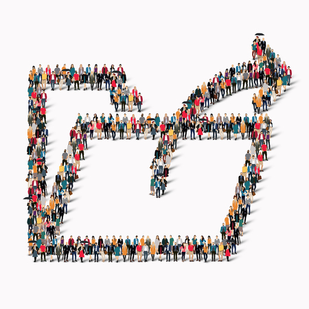 dues: A large group of people in the shape of a folder. Vector illustration.