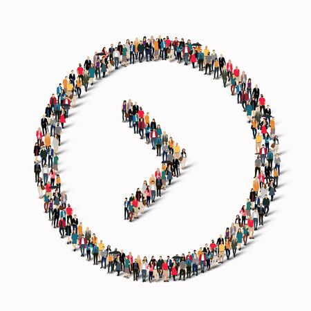 predict: A large group of people in the shape of an arrow direction. Vector illustration