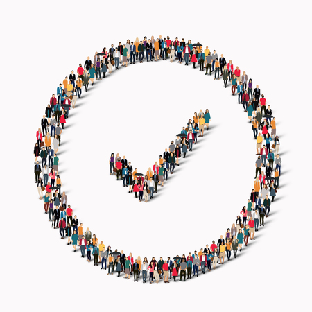 crowds of people: A large group of people in the form of checkmark . illustration.