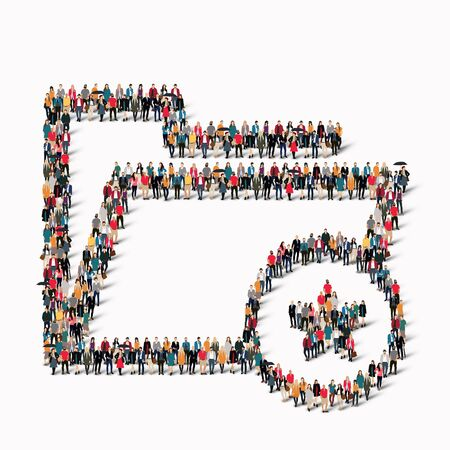 dues: A large group of people in the shape of a folder. illustration. Stock Photo