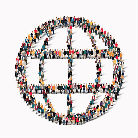 symbol people: A large group of people in the shape of a globe. illustration