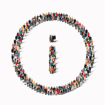 reference point: A large group of people in the shape of information sign. illustration.
