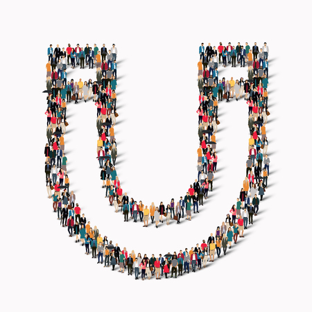 A large group of people in the shape of a horseshoe magnet.  illustration.