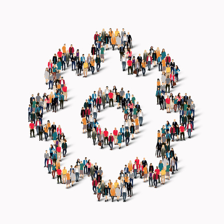 knowledge business: A large group of people in the shape of  cog , gear . illustration. Stock Photo