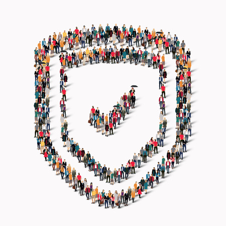 panoply: A large group of people in the shape of shield protection.  illustration.