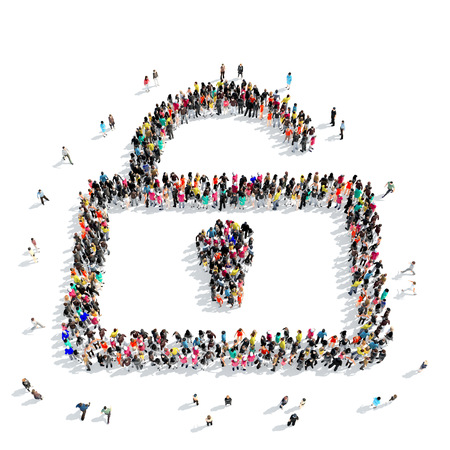secret love: A large group of people in the shape of lock. Isolated, white background.