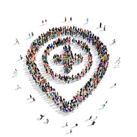 position d amour: Large group of people in the shape of map pointer . White background.