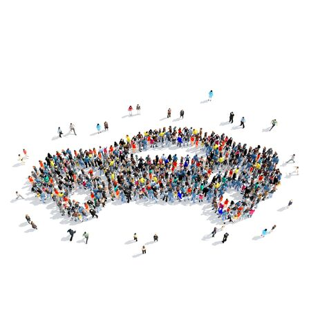 social gathering: Large group of people in the shape of the car. Isolated, white background.