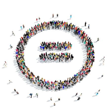 sencillez: Un gran grupo de personas en la forma de un signo matemático, aislados en fondo blanco, ilustración 3D. Foto de archivo