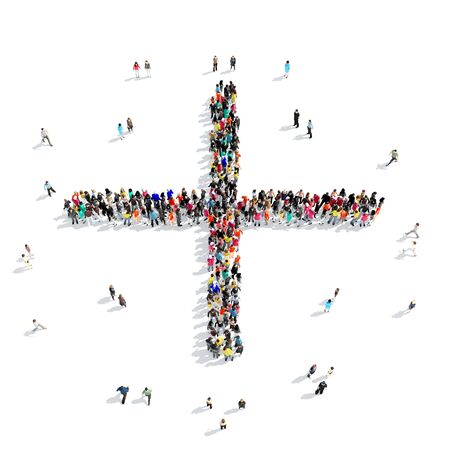 two minds: A large group of people in the shape of a mathematical sign, isolated on white background, 3D illustration. Stock Photo