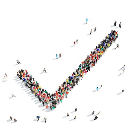 endorsing: A large group of people in the shape of a check mark, isolated on white background, 3D illustration.