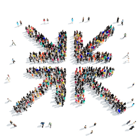 A large group of people in the shape of an arrow, isolated on white background, 3D illustration.