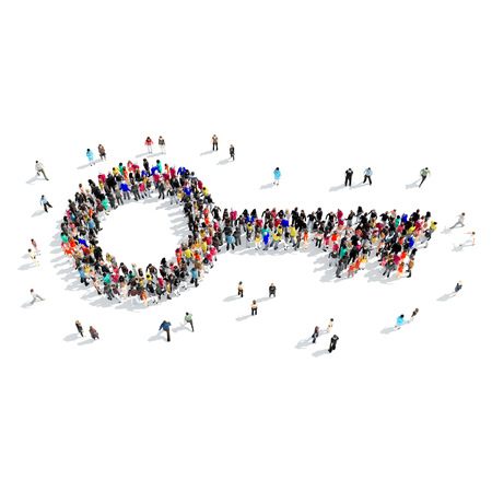 key hole: A large group of people in the shape of a key. Isolated, white background.