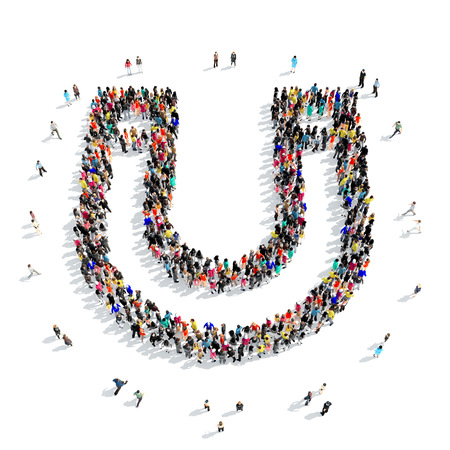 direction magnet: A large group of people in the shape of a horseshoe magnet isolated on white background, 3D illustration. Stock Photo