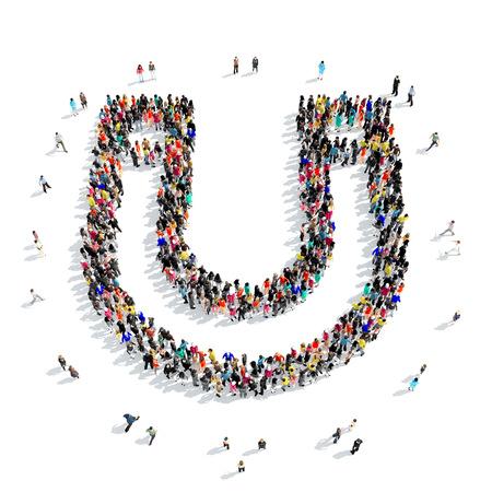 iman: Un gran grupo de personas en la forma de un imán de herradura aislado en el fondo blanco, ilustración 3D. Foto de archivo