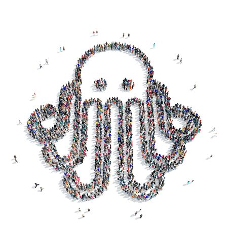 feeler: A large group of people in the shape of an octopus on a white background, 3D. Stock Photo