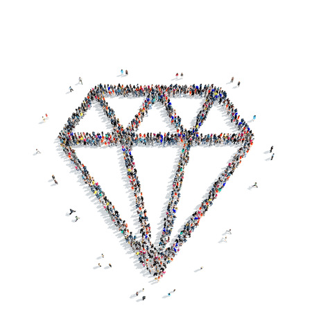 gambling stone: A large group of people in the shape of a diamond on a white background, 3D. Stock Photo