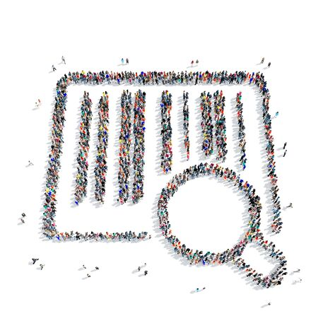 auctioneer: A large group of people in the shape of a barcode, purchase, on a white background, 3D. Stock Photo