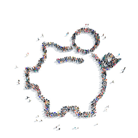 piggy bank money: A large group of people in the shape of a piggy bank, money, on white background, 3D. Stock Photo