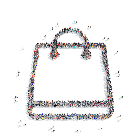 wealthy lifestyle: A large group of people in the shape of a bag, buy, on a white background, 3D.