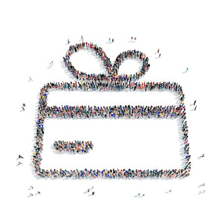 aloft: A large group of people in the shape of a credit card, a gift, on a white background, 3D.