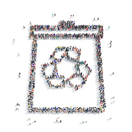 trashing: A large group of people in the shape of a basket, recycling, ecology, icon, white background, 3D illustration. Stock Photo