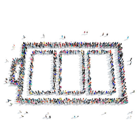 A large group of people in the shape of battery, ecology, icon, isolated on white background, 3D illustration.